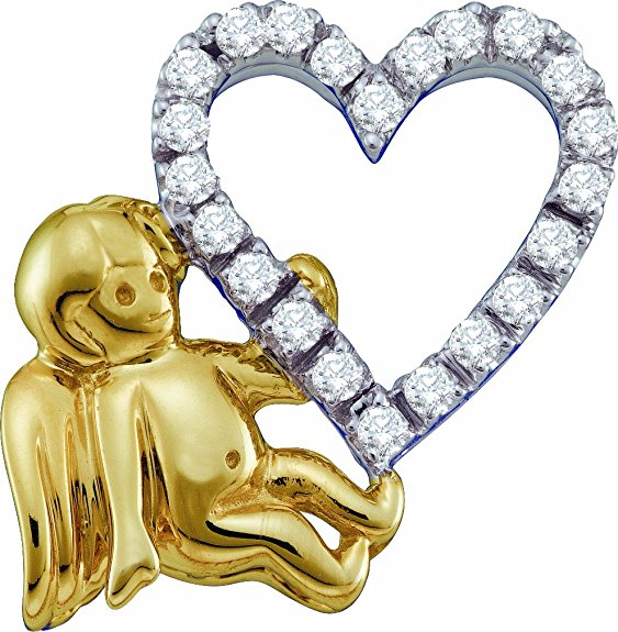 14K White Gold Diamond Cupid with Heart Charm