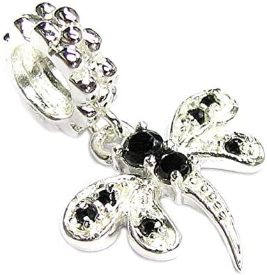 Black Crystal Dragonfly Charm