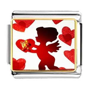 Boy Cupid and Heart Laser Italian Charm