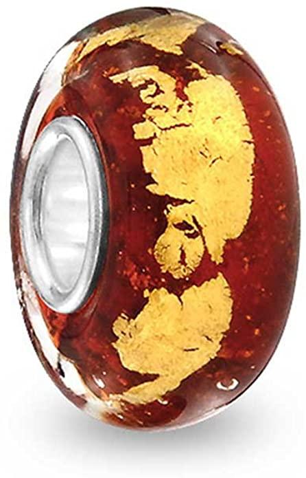 Burgundy Autumn Murano Glass Charm