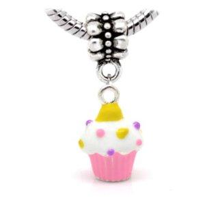 Chamilia White Silver Plated Cupcake Bead
