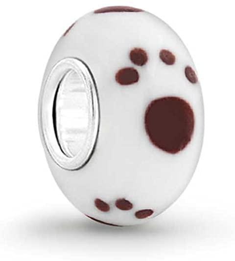 Dog Paw Print Pandora White Glass Charm