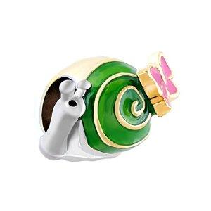 Green Enamel Snail Charm