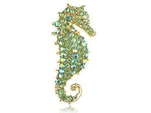 Green Seahorse With Green Peridot Charm