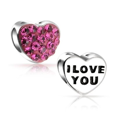I Love You Banner on Heart Pandora Bead