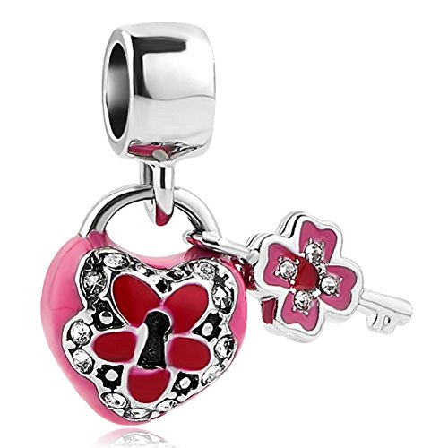 Key to My Heart Pink Stones Charm