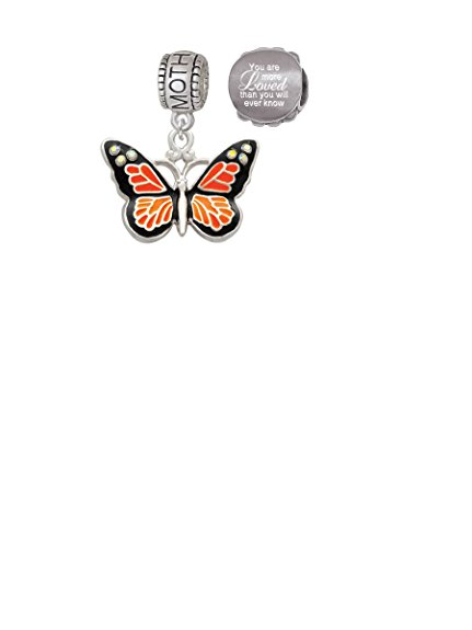 Large Monarch Butterfly Crystal Charm