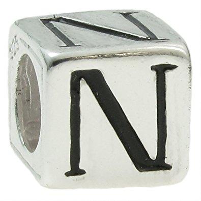 Letter N on Dice Pandora Charm