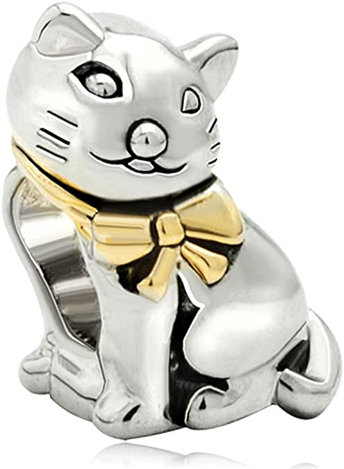 Lovely White Cat Pandora Photo Charm