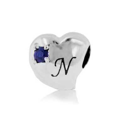 N Alphabet In Heart Pandora Alphabet N Blue