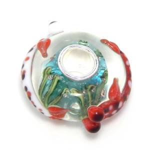 Pandora Big Eyes Red Fish Glass Charm