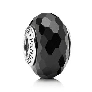 Pandora Black Faceted Crystal Glass Charm