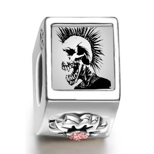 Pandora Black Halloween Skull Man Flower Charm