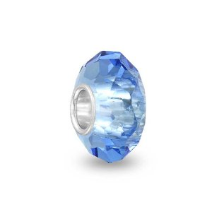 Pandora Blue Color Topaz Glass Crystal Faceted Charm