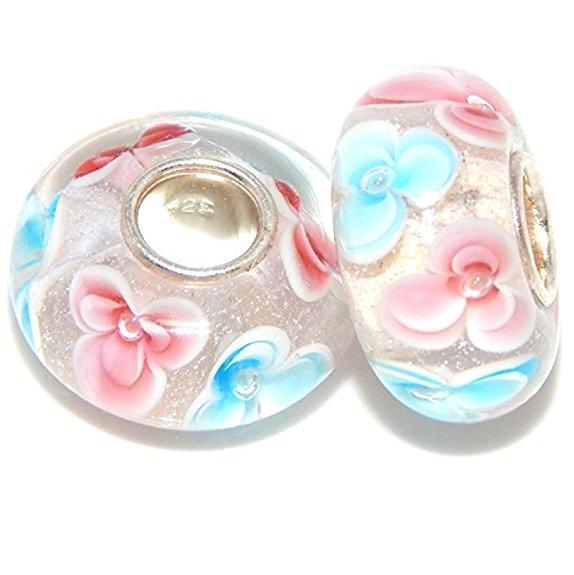 Pandora Blue Pink Flower Dangle Glass Charm