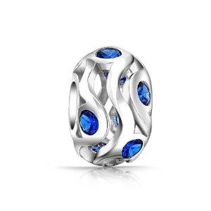 Pandora Blue Sapphire Color Silver Foil Glass Charm