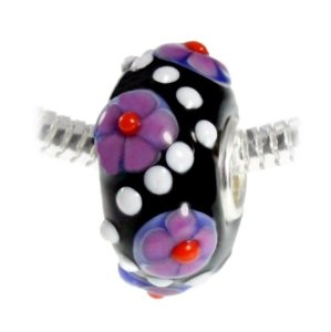 Pandora Bright Pansy Flowers With Green Leaves Murano Glass Charm