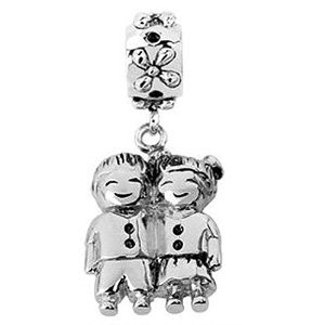Pandora Brother and Sister Silver Charm