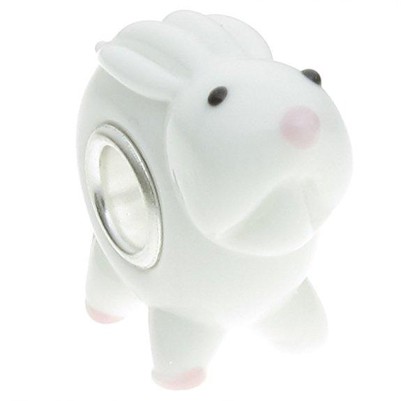 Pandora Bunny Rabbit Lampwork Glass Charm