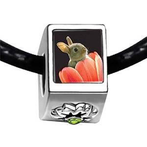 Pandora Bunny in Tulip Photo Charm