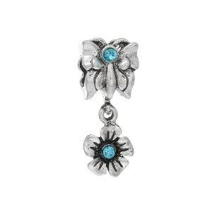 Pandora Butterfly Flower Crystal Charm