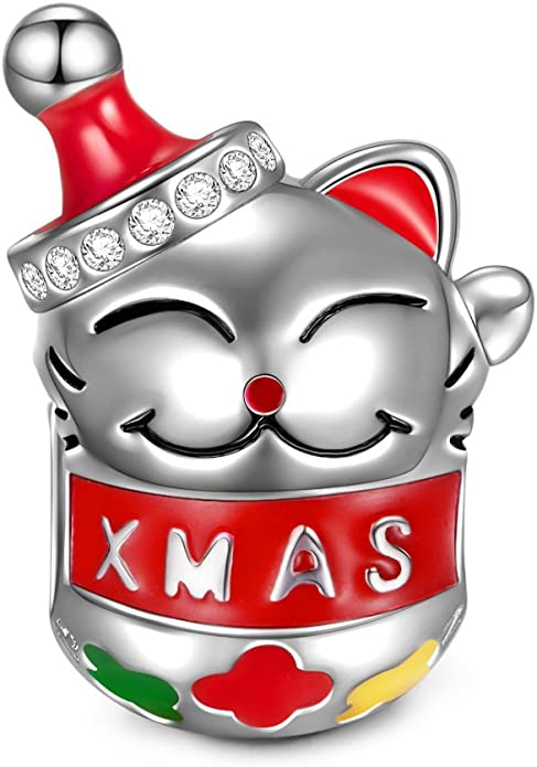 Pandora Cat With Santa Claus Hat Charm