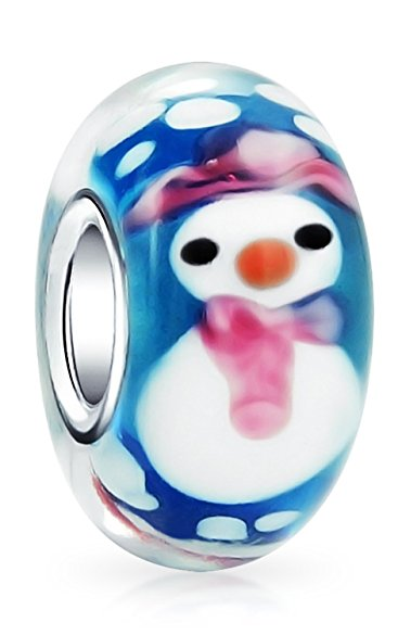 Pandora Christmas Snowman Glass Charm