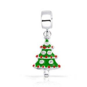 Pandora Christmas Tree With Green Red CZ Stones