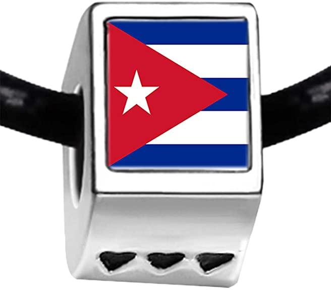 Pandora Cuba Flag Cylindrical Charm