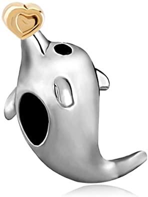 Pandora Cute Dolphin Holding Heart Charm