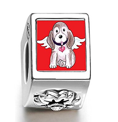 Pandora Cute Poodle Dog Angel Cylindrical Photo Charm