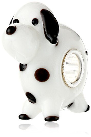 Pandora Dalmatian Dog Lampwork Glass Charm