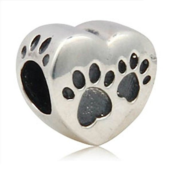 Pandora Dog Paw on Heart Charm