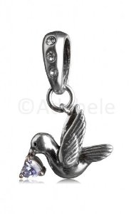 Pandora Dove Antique Silver Plated Charm