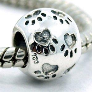 Pandora Engraved Puppy Dog Paw Charm