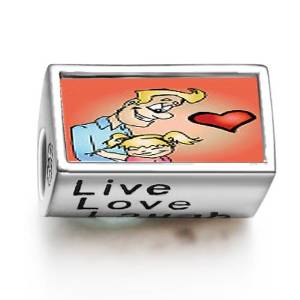 Pandora Father Embracing Daughter Love Heart Words Live Love Laugh Charm