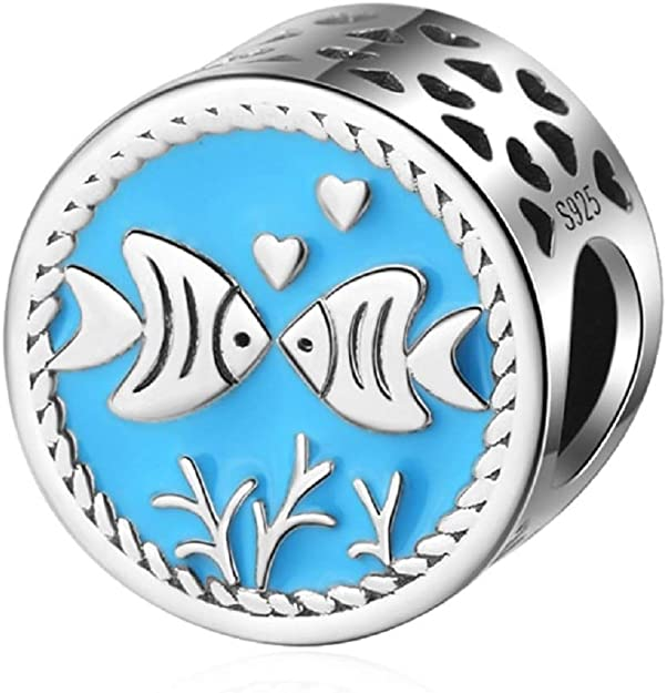 Pandora Fish in Blue Water Glass Charm
