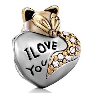 Pandora Fox Holding Heart I Love You Charm