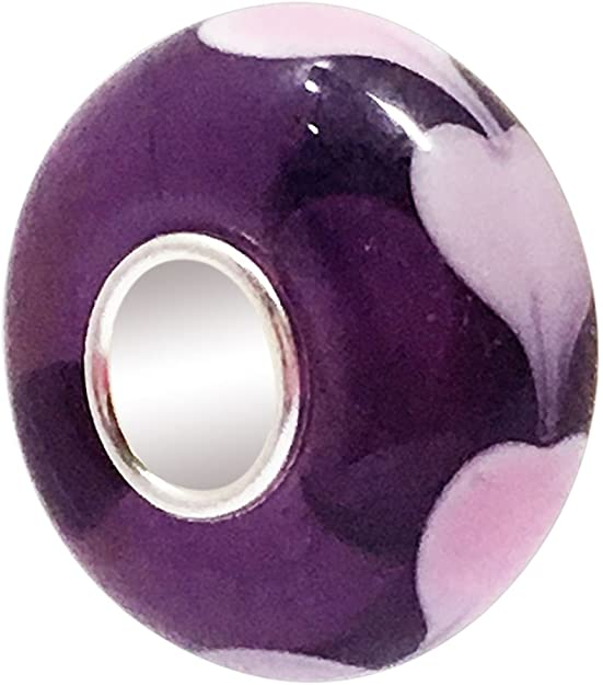 Pandora Glass Purple Hearts Charm