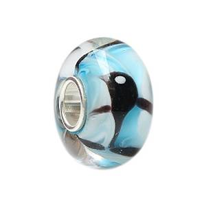 Pandora Gold Fish Murano Style Glass On Solid Core Charm