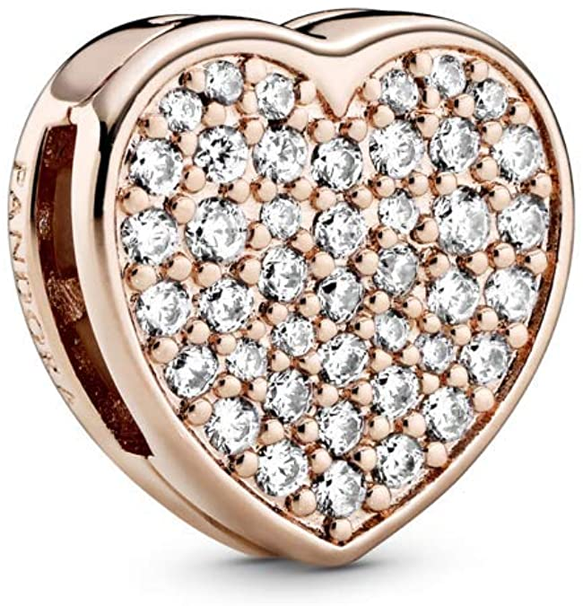 Pandora Gold Pave Brilliant Heart Diamond Charm