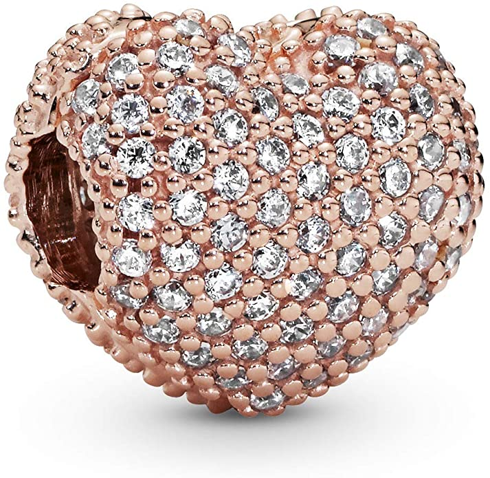 Pandora Gold Pave Heart Clear CZ Charm