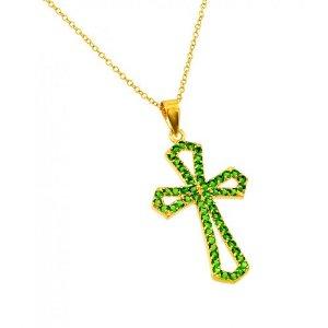 Pandora Green Cross With Peridot Crystal Pendant Charm