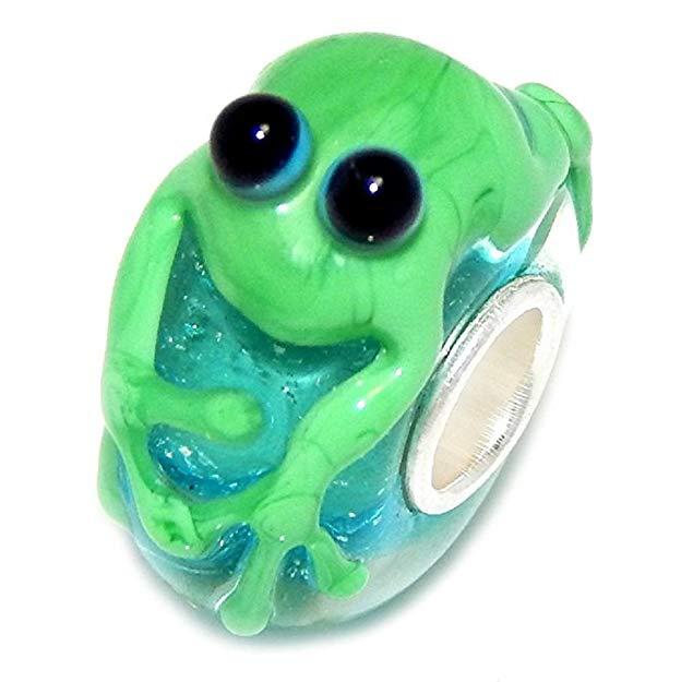 Pandora Green Frog Murano Glass Charm