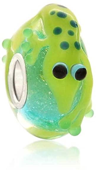 Pandora Green Lizard Gecko Glass Charm