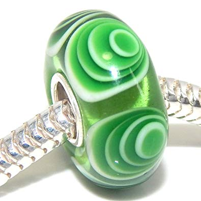 Pandora Green Swirl Murano Glass Bead