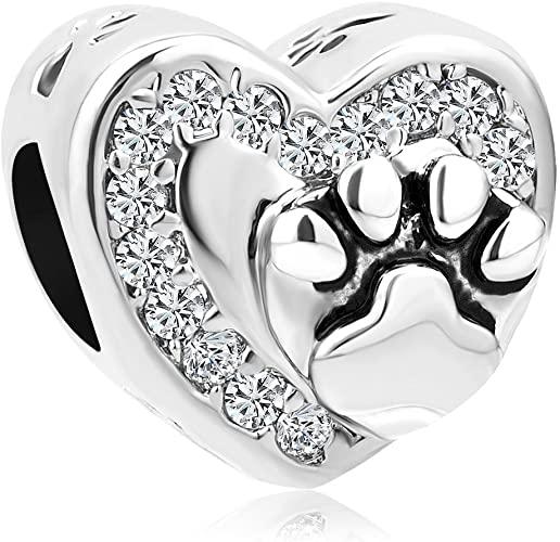 Pandora Heart Dog Paw Print Charm