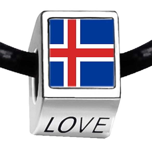 Pandora Iceland Flag Photo Love Charm
