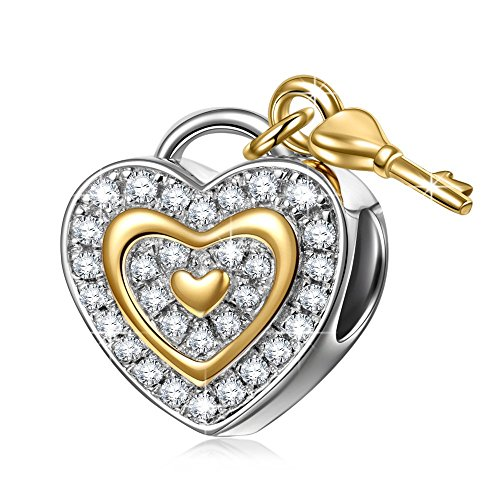 Pandora Key to My Heart Purple Amethyst Rhinestone Charm