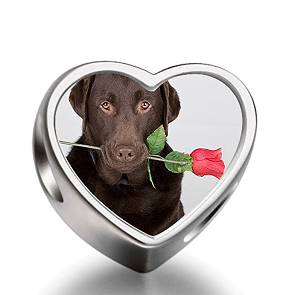 Pandora Labrador Dog With Rose Heart Charm